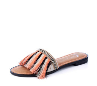 a0f7e57fbd5d31 Pretty You London Fringe Sandal Slider with Diamante Trim - 171634