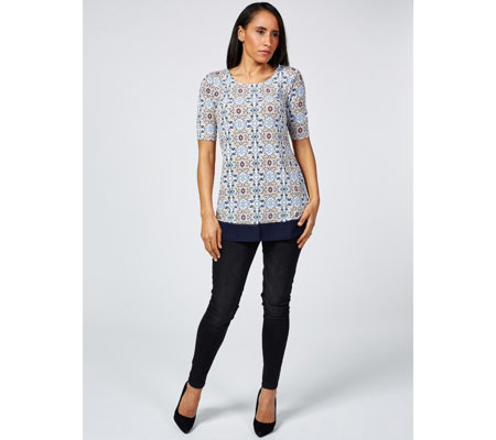Printed Tunic with Chiffon Hem by Nina Leonard