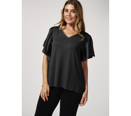 H by Halston V Neck Knit Top with Split Flutter Sleeves