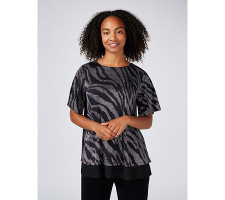 Together Animal Metallic Print Top