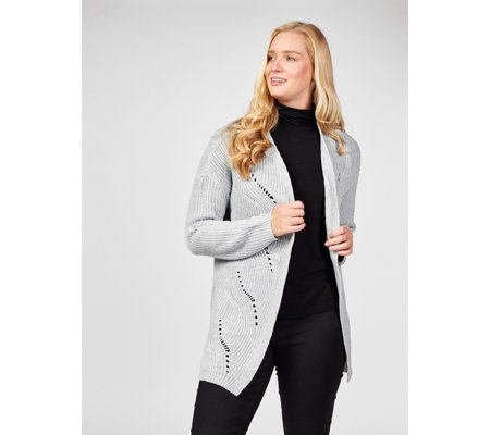 Absolutely Famous Lace Up Back Pointelle Detail Cardigan