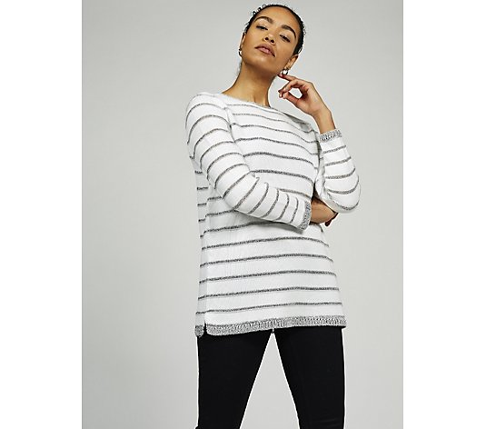 Together Metallic Stripe Sweater