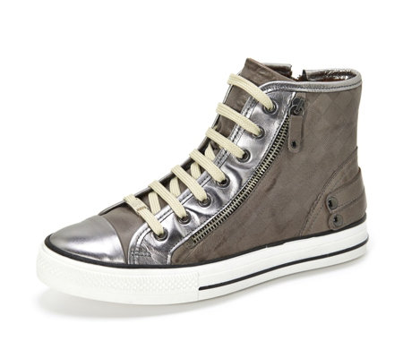 Moda in Pelle Argentico High Top Trainer