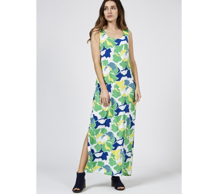 Alton Gray Sleeveless Printed Maxi Dress