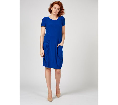 Outlet Short Sleeve Dress with Elasticated Hem & Front Pockets by Nina Leonard