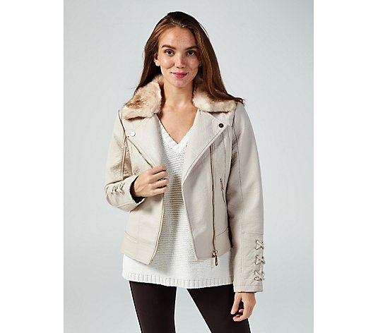 Rino & Pelle Faux Leather Biker Jacket with Faux Fur Collar