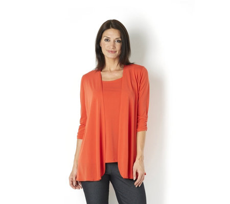 Kim & Co Stretch Crepe 3/4 Ruched Sleeve Edge to Edge Cardigan