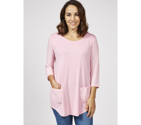 Antthony Designs 3/4 Sleeve Round Neck Top with Ribbed Detail