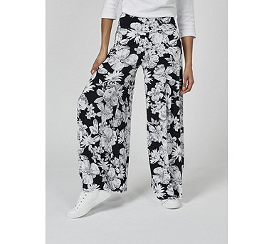 Coco Bianco Printed Palazzo Trouser with Elasticated Waist - 176535