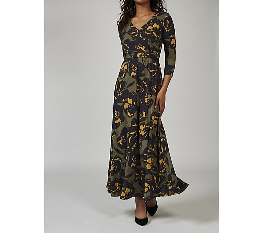 Outlet Du Jour Printed Wrap Knit Maxi Dress Regular
