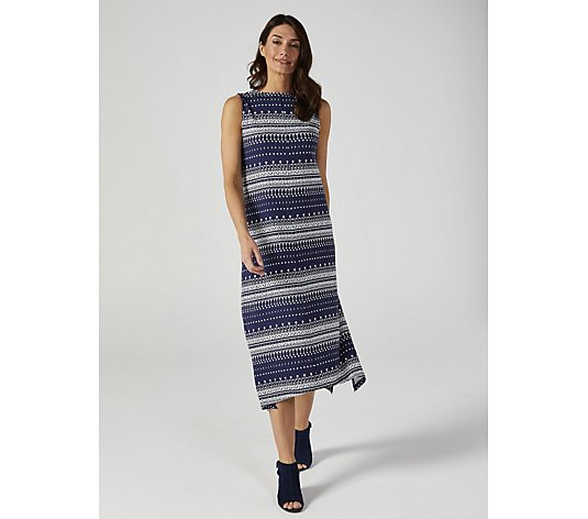 Denim & Co. Printed Jersey Sleeveless V Neck Trapeze Hem Dress with Side Slits