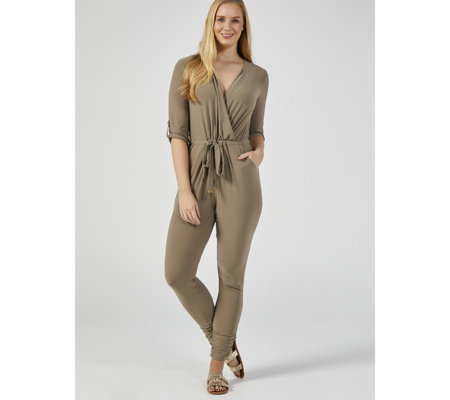 3/4 Tab Sleeve Jumpsuit with Front Waist Tie by Nina Leonard