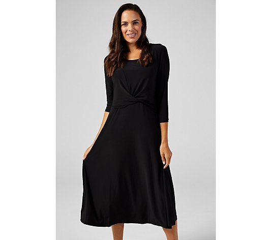 3/4 Sleeve Twist Waist Midi Dress by Nina Leonard