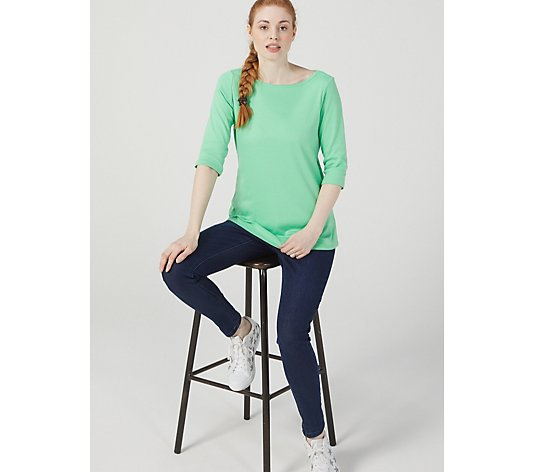 Denim & Co. Boat Neck Elbow Sleeve Top