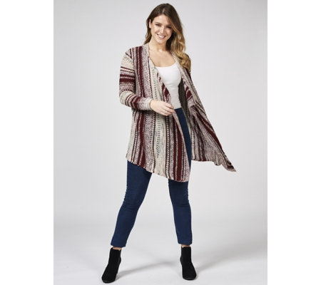 029a11bd46f Absolutely Famous Texture Stripe Pointelle Cascade Cardigan - QVC UK