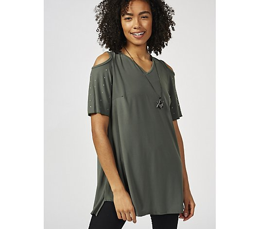 Grace Cold Shoulder Tunic with Stud Detail Sleeve & Necklace