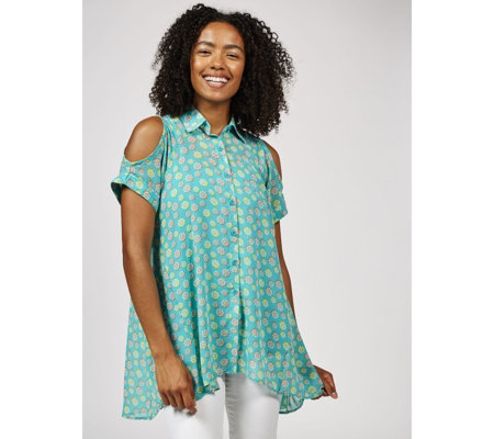 Antthony Designs Printed Cold Shoulder Top & Tank Set