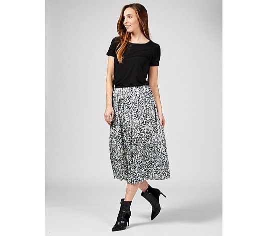 Helene Berman Animal Print Midi Skirt