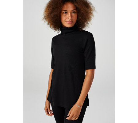 Isaac Mizrahi Live Essentials Silky Pima Turtle Neck Top