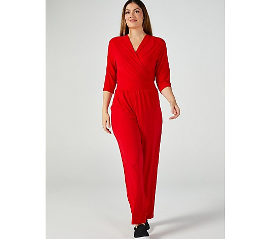 Kim & Co Brazil Jersey 3/4 Sleeve Relaxed Leg Jumpsuit