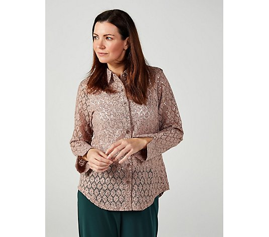 Crochet Sequin Lace Shirt by Michele Hope