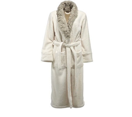 Cozee Home Faux Fur Trim Robe