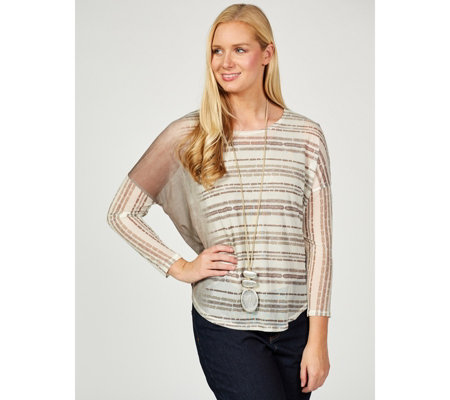 MarlaWynne Printed Mesh Poncho Top with Cami