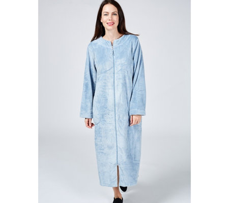 Carole Hochman Silky Plush Empire Waist Zip Dressing Gown
