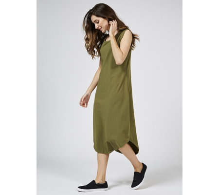 Denim & Co. Solid Jersey Scoop Neck Sleeveless Midi Dress