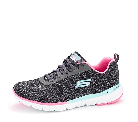 Skechers Flex Appeal 3.0 Fab Craze Ombre Rand Heathered Lace Up Trainer