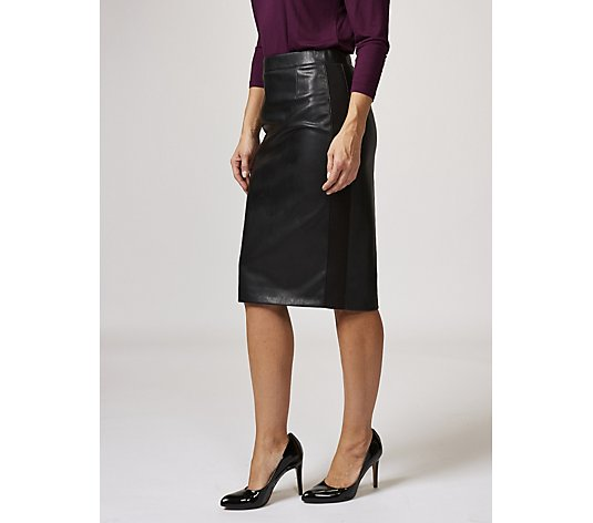 Ruth Langsford Faux Leather Pencil Skirt Ponte Side Panels