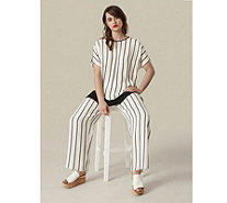 Live Unlimited London Stripe Print Elasticated Waist Trousers - 172838