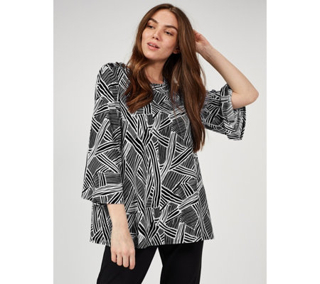 Antthony Designs Printed Button Detail Top