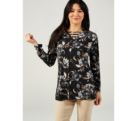 Mr Max Printed Long Sleeve Tunic Top with Neck Detail