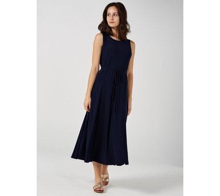 Matt Jersey Sleeveless Godet Midi Dress by Nina Leonard