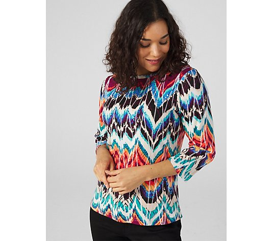 Artscapes Ikat Print Crew Neck Top
