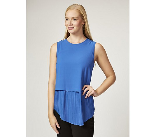 Andrew Yu Sleeveless Top with Pleated Hem