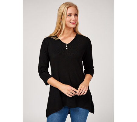 Knitted Tunic with Faux Pearl Neckline Detail by Michele Hope
