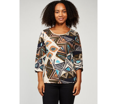 Artscapes 3/4 Sleeve Tribal Print Scoop Neck Top