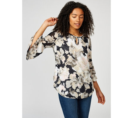 Isaac Mizrahi Live Watercolour Floral Tiered Sleeve Top