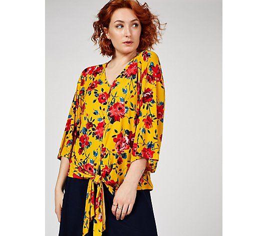 Printed 3/4 Sleeve Tie Front Oversized Top by Nina Leonard
