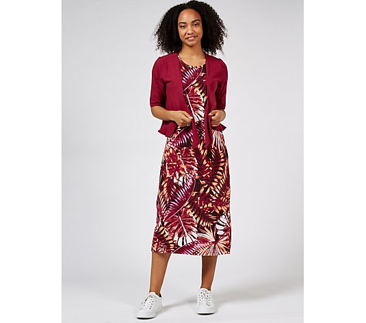 Denim & Co. Printed Jersey Sleeveless Midi Dress with Jersey Shrug