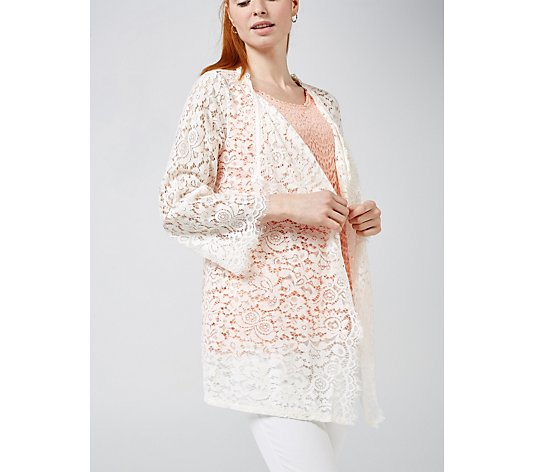 Isaac Mizrahi Live Lace Cascade Front Cardigan with Scallop Edges