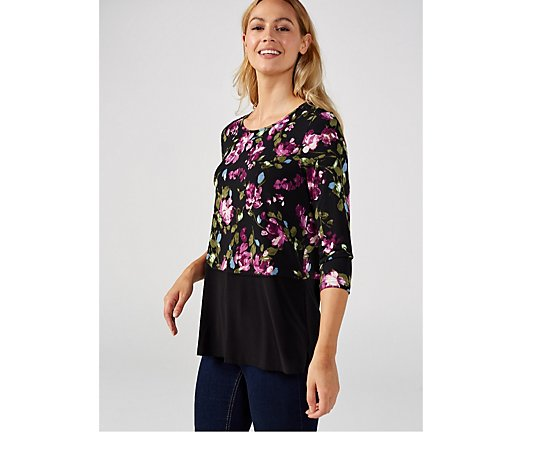 3/4 Sleeve Printed Contrast Top by Nina Leonard