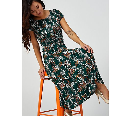 Perceptions Short Sleeve Dress with Waist Gathering