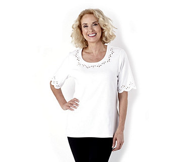 Quacker Factory Pretty Daisy Scalloped Elbow Sleeve T-Shirt - 137040