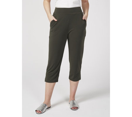 Kim & Co Brazil Knit Wide Waistband Cropped Trousers with Pockets
