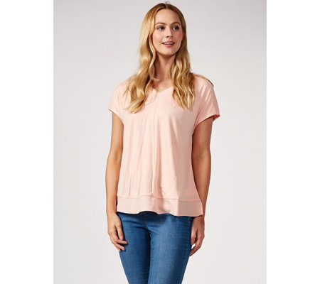 H by Halston Trim Detail Cap Sleeve V Neck Top