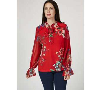 19f1c1ea5d4a9 Printed Tie Detail Top with Chiffon Frilled Sleeves by Susan Graver - 172640