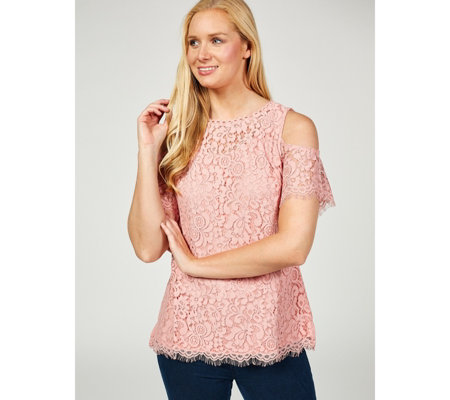 Isaac Mizrahi Live Cold Shoulder Lace Top with Scalloped Hem